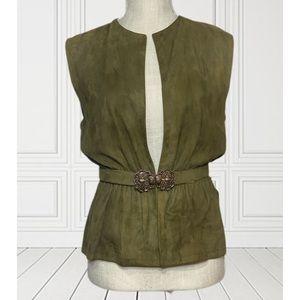 Vintage 1960s Abe Schrader Army Green Vest w/ Belt